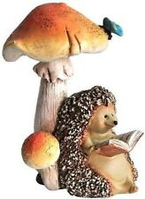 Miniature Fairy Garden Hedgehog Reading a Book Under Mushroom TO 4215