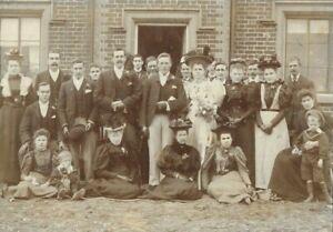 Victorian / Edwardian Era Wedding Photo On Card Amazing Fashion Hats