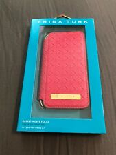 TRINA TURK New Leather Pink Basket Weave Wallet Folio Case For Iphone 7 & 8