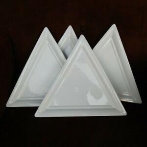 "Fortessa Inc Germany White Triangle 12.25"" x 10.75"" Geometric Plates- Set of 4"