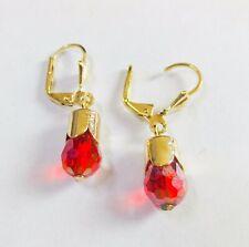 14K Karat Gold Filled orange Crystal CZ Stone Hanging Dangling Earrings  #240