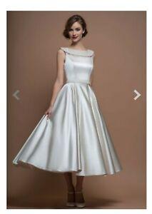 LouLou Agatha Wedding Bridal Dress size 12 tea length vintage