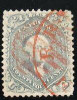 U.S. Rare #70b – 1861 24c Washington, steel blue, Used, Red Grid/Red Town Cancel