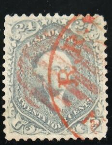 U.S. Rare #70b – 1861 24c Washington, steel blue, Used, Red Grid/Red Town Cancel