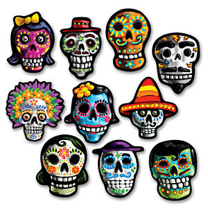 DAY OF THE DEAD MEXICAN MINI CUT OUT PARTY DECORATIONS X10!