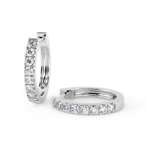 0.30 ct Round Diamond Micro Set Classic Hoop Earrings, White Gold