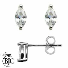 BJC® Sterling Silver 925 6mm Long Marquise Pippin Cut CZ Studs Stud Earrings