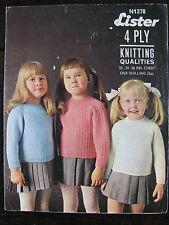 """VINTAGE Lister modello: Bambino/Maglioni per bambini, 4ply, 22-26"""", N1378"""