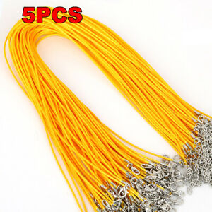 5Pcs Cotton Waxed Cord Adjustable Rope String Necklace Chain Lobster Clasp DIY