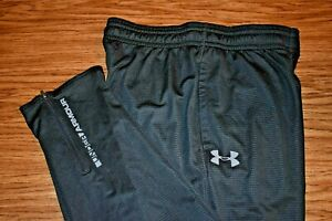 UNDER ARMOUR COLD GEAR FITTED Large Men's Fleece Lined Zip Ankle Pants Black