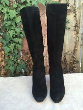 COLE HAAN Air Aliya Black Suede Knee High Platform Heel Boots US Size 10.5