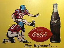 1950s FOOTBALL Drink COCA COLA Cardboard SIGN Original Vintage Advertising