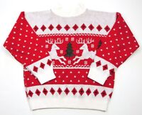 Vintage Red Acrylic Reindeer Ugly Christmas Sweater, Womens Sm - Turtleneck