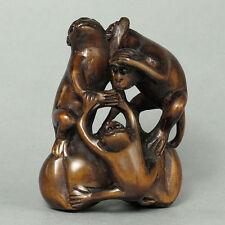 "1940's Japanese handmade Boxwood Wood Netsuke ""THREE MONKEYS"" Figurine Carving"