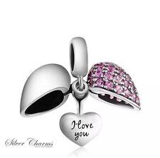 Rosa a Cuori I Love You Charm 925 Argento Sterling Regalo imballaggio incluso