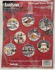 1993 Vntg Janlynn Counted Cross Stitch Ornament Kit Winter Scenes Makes 8 8366