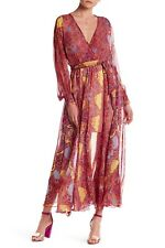 $348 New Meghan LA Mon Cherie Wrap Maxi Dress Long Sleeves Burgundy Size Small S