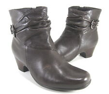CLARKS WOMEN'S LEYDEN CREST ANKLE BOOTS DARK BROWN LEATHER US SIZE 6.5 WIDE (W)