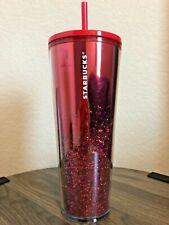 Starbucks Limited Edition Red Cascading Glitter Sparkle Tumbler 24oz Venti New
