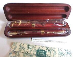 The Bombay Company Wood Pen Pencil Set w/ Wooden Case.