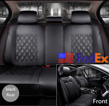 Universal Black PU Leather Full Wrap Set Car Seat Cover Protector Cushion Pad US