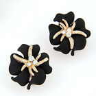 OL Fashion Women Lady Elegant Flower Charm Crystal Rhinestone Ear Stud Earrings