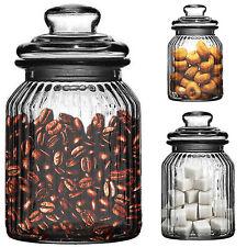 990ml New Ornate Ribbed Glass Tea Coffee Sugar Candy Bonbon Biscuit Storage Jar