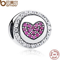 Bamoer Authentic S925 Sterling Silver love Charms With Purple CZ For Bracelets h