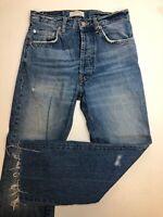 (C1) Zara Jeans Womens Size 2 Blue Frill Fray Hem high Rise Denim wide leg