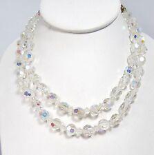 "Vintage AB Crystal Bead Double Strand Necklace LISNER 16"" Aurora Bourealis"