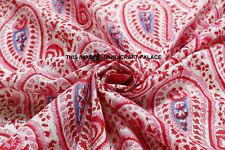 Indian 100%Cotton Voile Fabric Pink-White Sewing Hand Block Print Craft By yard