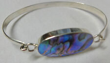 Size 6.5 Genuine 925 sterling silver with Abalone oval shape Bangle open clasp