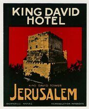 """King David Hotel JERUSALEM Israel Old RICHTER Luggage Label Kofferaufkleber """"S"""""""