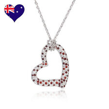 18K WHITE GOLD GF CLEAR CRYSTAL CZ LOVE HEART PENDANT NECKLACE-BRIDAL GIFT