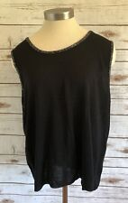 CLASSIC ELEMENTS Women Sleeveless Pull Over Knitted Black Shirt Top Plus Size 2X