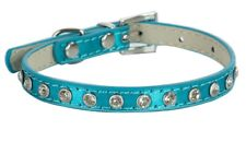 Dog Collars PU Leather Diamante Stud Rhinestone Puppy Tiny X-Small Cat Pet Chi