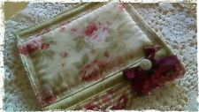 Handmade,  roses,  quilted pot holder, patchwork style,  shabby n chic.