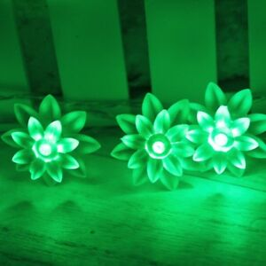 Battery Powered Green 40 LED 13ft Lotus Flower Fairy Lights string lamp ON+Flash