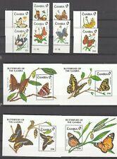 GAMBIA, 1991 Schmetterlinge 1164-71, Block 112-15 **, (28193)