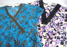 Scrub Tops Womens S Purple Teal Lot of 2