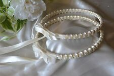 Greek Orthodox Wedding Stefana Crowns 2 Ivory Gold Pearl & Satin Cording