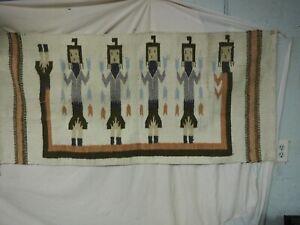 """Beautiful Vintage Navajo 5 Yei Weaving Rug 59.5"""" x 28"""""""
