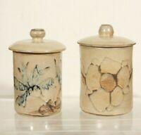 Ateliers La Roue Vallauris vers 1950 2 pots couverts céramique vintage