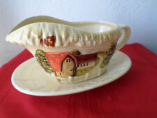 Vintage Mark & Rosenfeld Marked Gravy Boat & Underplate Countryside Barns