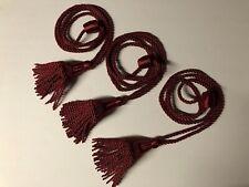 "3 Vintage Burgundy Curtain Drapery Tassel Tiebacks Satin Rope Cord 30"""