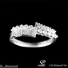 DIAMOND BAND RING ROUND AND BAGUETTE DIAMONDS 0.56CT IN 18 K WHITE GOLD