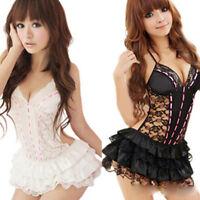 Women's Sexy Backless Lace Underwear Lingerie G-string Babydoll Mini Dress Set J