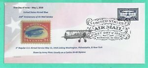 #5281 Centennial Air Mail Blue, May 1, 2018-Pictorial Hand Cancel on #10 Cover