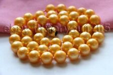 "Round Pearl Necklace 9k #f3033! 17.5"" Genuine Natural 10mm Golden"