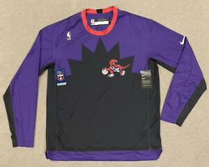 Nike NBA Toronto Raptors HWC Nights Warm Up Long Sleeve Shirt Size LT CI551-010